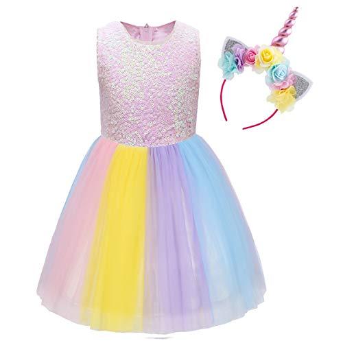 IWEMEK Baby Mädchen Einhorn Regenbogen Geburtstag Kleid Halloween Kostüm für Kinder Prinzessin Blumenmädchenkleid Hochzeit Festzug Weihnachten Karneval Ankleiden Cosplay 6-7 ()