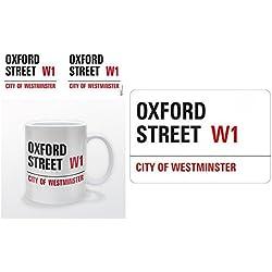 Set: Londra, Oxford Street, City Of Westminster, Targa Stradale Tazza Da Caffè Mug (9x8 cm) E 1 Londra, Sticker Adesivo (9x9 cm)