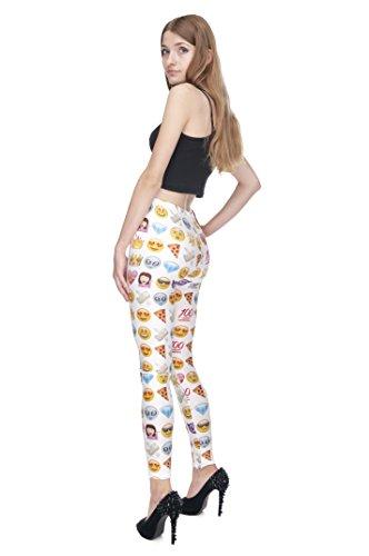 Filles Leggings pour femme Imprimé All Over pas voir à travers très élastique UK 8/10/12Entraînement Fitness Yoga de Course Gym Danse Pantalon pour femme Multicolore - EMOJI WHITE