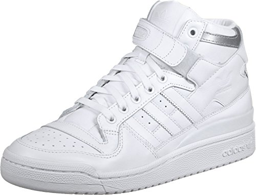 adidas Herren Forum Mid Refined Fitnessschuhe, Weiß (Ftwbla/Ftwbla/Plamet), 39 1/3 EU (Schuhe Adidas Forum)