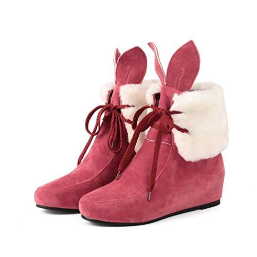 Yiiquan Donna Design Delle Orecchie di Coniglio Neve Stivali Stivaletti Boots Scarpe Piane Rosso