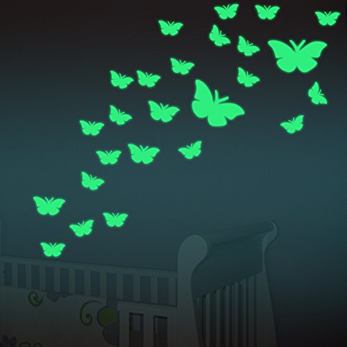 FESKIN Wandsticker Schmetterlingen Sticker, Wandaufkleber Fluoreszierend & im Dunkeln leuchtend für Kinderzimmer und Babyzimmer Dekor