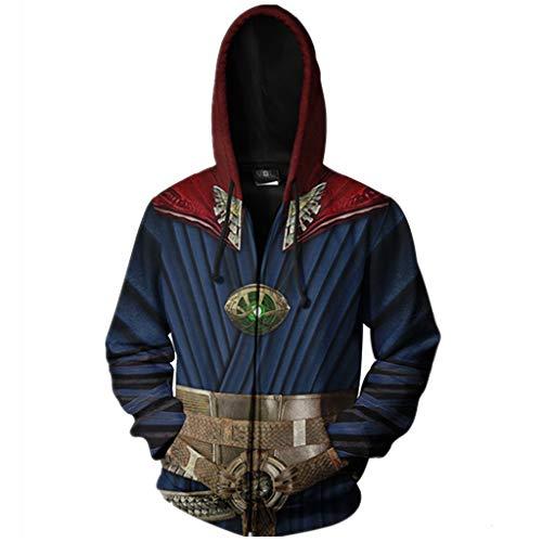 SDKHIN 3D Hoodie Zip Hooded Sweatshirt Cosplay Avengers 4 Dr. Singular Kapuzenpullover Strickjacke Movie Fashion Men,Blue-M (Theme Adult Kostüme)