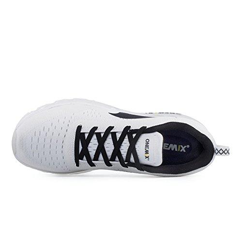 OneMix Herren Air Laufschuhe Luftkissen Leicht Sneakers Sportschuhe mit Luftpolster Turnschuhe Weiß