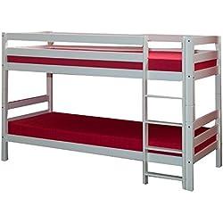 Litera Stock cama Bruno haya maciza tamaño 90x 200cm color blanco lacado