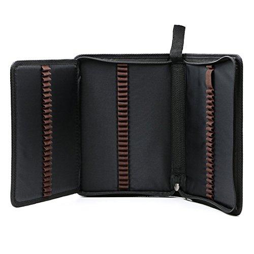 Zhengdu - Astuccio portatile per 72 matite colorate, in tela, con cerniera Black - Tribal Pouch