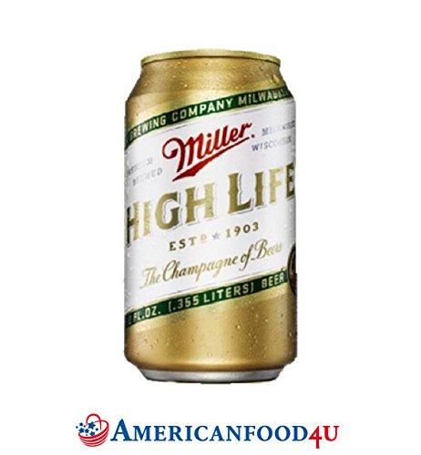 AMERICANFOOD4U® Biere - Miller High Life Dose | 24er Pack | 24 x 355ml amerikanisches Bier | Die Original Importware aus den USA als perfektes Geschenk für Männer | Das krispen, perlende High-End Bier aus Amerika - Für Deine amerikanische Grillparty, dein Barbecue (BBQ) mit Freunden oder als perfektes Getränk für die nächsten NFL, NBA oder MLB Playoffs | 'The Champagne of US Beers' US - Jetzt bei Dir zu Hause! [+GRATIS Dosenkühler]