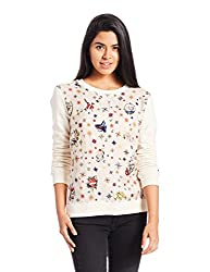 Tommy Hilfiger Womens Cotton Sweatshirt (A6AWH011S_Eggnog and Cadmael Compass Prt Egnogg)