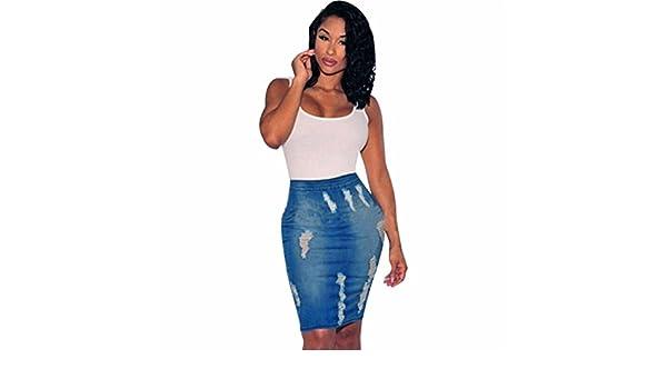 Femmes stretch bodycon pencil jeans denim taille haute trou mini
