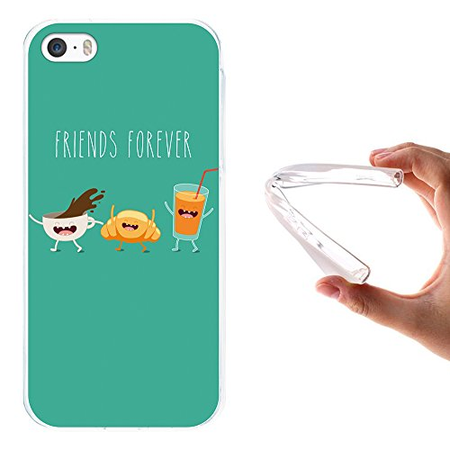 iPhone SE iPhone 5 5S Hülle, WoowCase Handyhülle Silikon für [ iPhone SE iPhone 5 5S ] Friends Forever- Wein und Käse Handytasche Handy Cover Case Schutzhülle Flexible TPU - Transparent Housse Gel iPhone SE iPhone 5 5S Transparent D0231