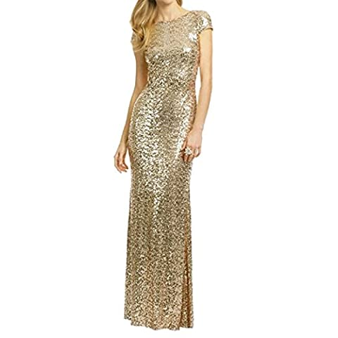 Honey Qiao Women's Bridesmaid Dresses Sequins Cowl Mermaid Formal Gowns