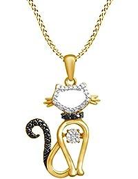 Schwarz und Weiß Dancing natürlicher Diamant Accent Katze Anhänger Halskette  in 925 Sterling Silber 0, da0a3d2058
