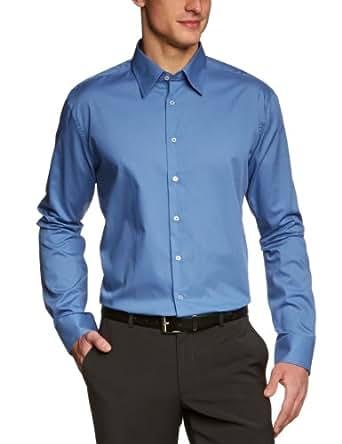 Schwarze Rose Herren Businesshemd Slim Fit 226200, Gr. 38, Blau (16 blau)