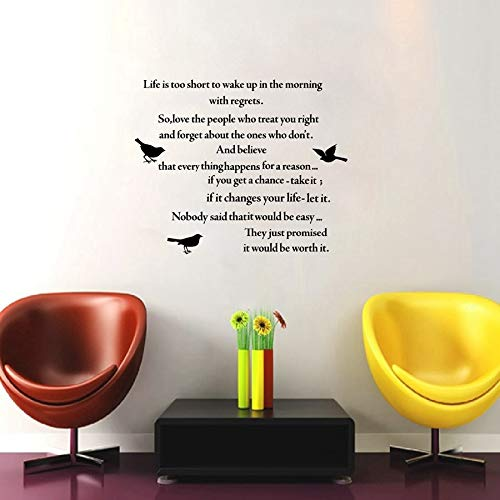 Njuxcnhg Gedicht Zitate Leben IST ZU KURZ Vinyl Wandaufkleber Inspirational Schriftzug Worte Wandtattoos Für Zuhause Wohnzimmer/Arbeitszimmer Dekor 57X53 cm -