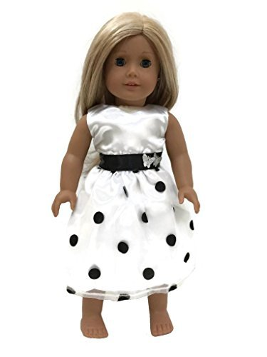 Glamerup: Francesca - 18 inch Doll Party Banded Dress, Black and White Polka Dots, with Tie Back Sash Black Banded Tie