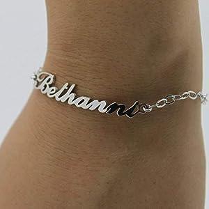 925 Silber Namensarmband/Fußband - Armband mit Namen Personalisiert mit Ihrem eigenen Wunschnamen