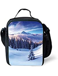 12a38355e9 ZKHTO School Supplies Winter Decorations,Surreal Winter Scenery with High  Mountain Peaks And Snowy Pine