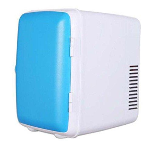 HAIZHEN Mini-Kühlschränke Einzelne Tür Auto Kühlschrank 4L Mini-Kühlschrank Auto 12V / 220 V Haus Kühlschrank Kühlung / Heizung Doppel Mini Kühlschrank 24.5 * 18 * 23cm-- Weiß / Rosa / Blau für Zuhause, Büro, Auto, Wohnheim oder Boot
