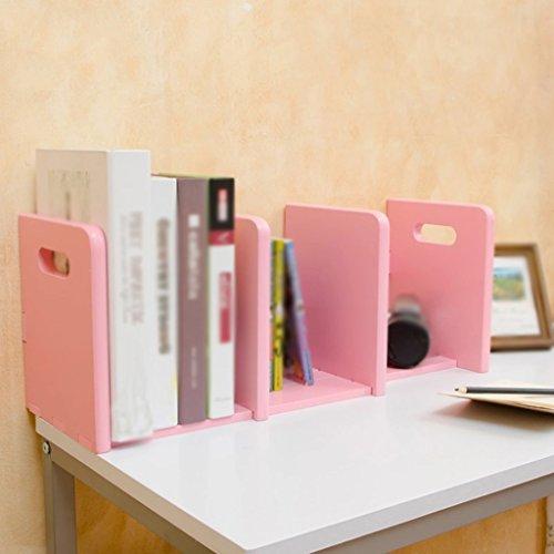 Librería Libro Stand (36-68.5) * 18 * 21 Cm Almacenamiento Telescópico Creativo Oficina Estudiante Blanco Rosa ( Color : Pink )