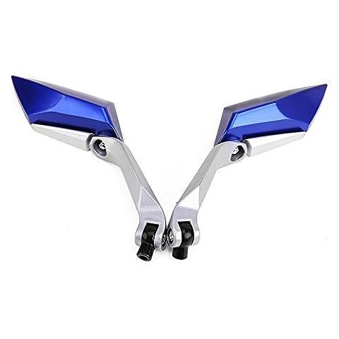Rearview - SODIAL(R)Paar Spiegel fuer Motorrad-Roller-Spiegel Bandwalz Schrauben 8mm 10mm M8 M10 Farbe Blau
