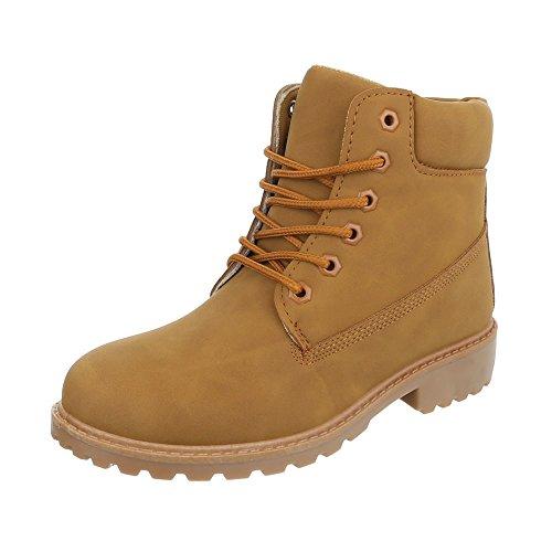 Schnürstiefeletten Damen-Schuhe Combat Boots Blockabsatz Schnürer Schnürsenkel Ital-Design -