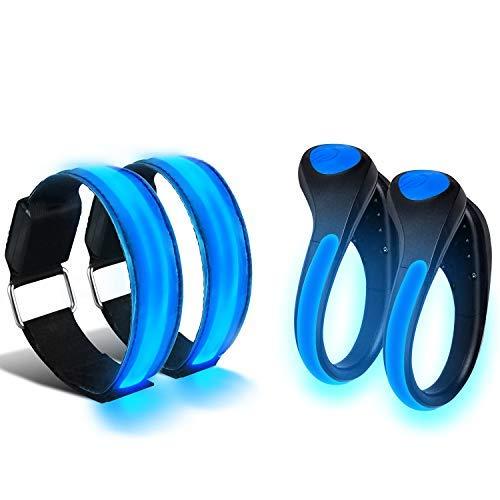 COASTAR - Luci a LED per Scarpe, Luminose, con Fascia da Braccio Riflettente, per Corsa, Ciclismo, Campeggio (2 Fasce da Braccio e 2 Clip per Scarpe), Blue, Misura Unica