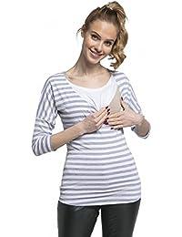HAPPY MAMA Para Mujer Camiseta Premamá y de Lactancia Cuello Doble Capa. 063p