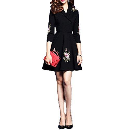 ZQQ La signora europeo di primavera in stile con scollo a V Slim Sleeve era (Floreale Vestito Lungo Dal Manicotto Camicia)