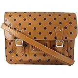 Ladies Womens Polka Dot Bag Spot Spotty Satchel Handbag Tan Navy