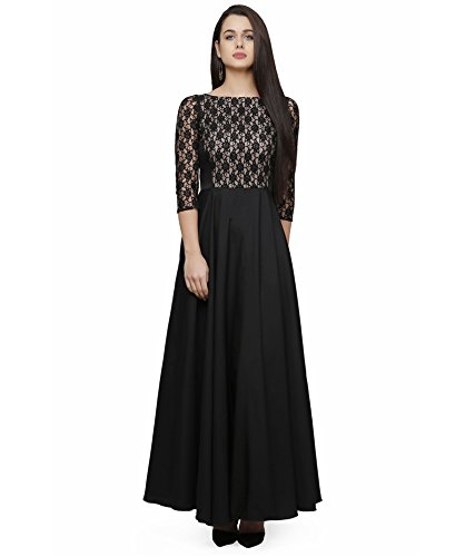 Royal Export Women's Lace and Crepe Fabric Gown (Black & Red) (White, X-Small)