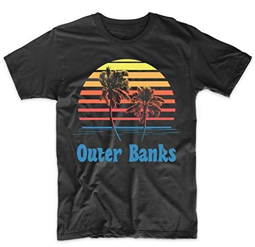 Frauen Retro-Stil Outer Banks North Carolina Sonnenuntergang Palm Trees Beach Vacation T-Shirt -