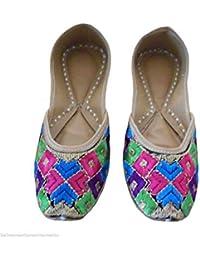 Kalra creaciones de la mujer tradicional de piel sintética con bordado indio partido zapatos