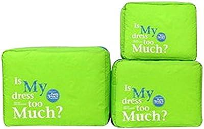 3pcs / set ordenado de malla de nylon de la cremallera portátil de viaje para el equipaje Bolsa de almacenamiento de ropa de la maleta del caso del organizador del bolso de la bolsa