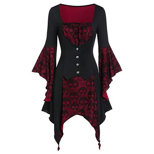 Sllowwa Damen Cosplay Kostüm Korsagekleid Steampunk Gothic Kostüm Magic Mistress Hexenkostüm Teufelchen Halloween Weihnachts Karneval Party