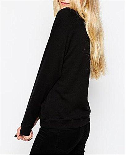 AILIENT Donne Magliette T Shirt Manica Lunga Rotondo Collo Stampa Maglietta Camicie Cime Tops Elegante Pullover Fantasia Sweatshirt Casual Tops Comode Black