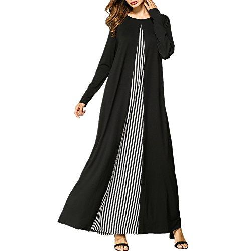 mischen Kaftan Kleid, Locker Gestrickten Streifen Voller Länge Abaya Islamische Kleidung,Schwarz,M (Typ Kostüm Kaftan)