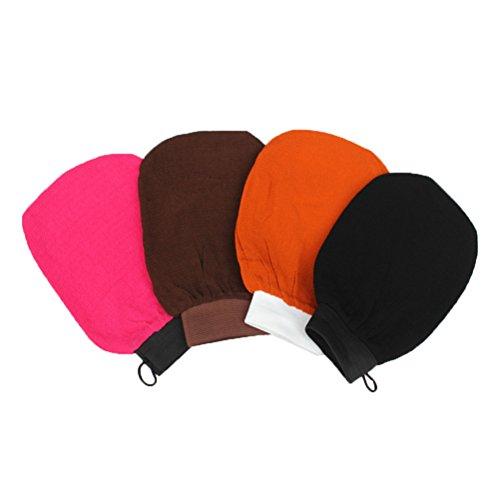 Frcolor Bad Handschuh Wäscher, Peeling Rayon Mitt Waschlappen Keine Reizung für Baden Sauna, Packung mit 4 (Mischfarbe) -