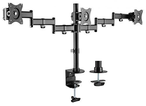 RICOO Universal Monitor Halterung 3 Bildschirme TS5911 Schwenkbar Neigbar Monitorhalterung Tischhalterung LCD LED TFT Curved 4K Bildschirmhalterung VESA 75x75 100x100 33-69cm 13-27 Zoll Schwarz