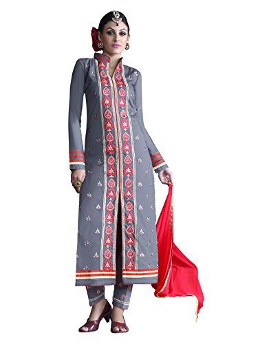 Kanchnar Grey and Red Cambric Cotton Embroidered Unstitched Party Wear Salwar Suit