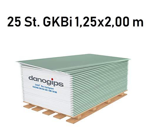 25 St. (= 62,5 m²) Gipskarton-Platten/Bauplatte imprägniert GKBi (12,5 mm) 1,25 x 2,00 m