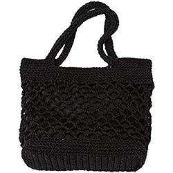 FENICAL Bolso de playa Bolso de algodón tejido de paja de verano para las mujeres (Negro)