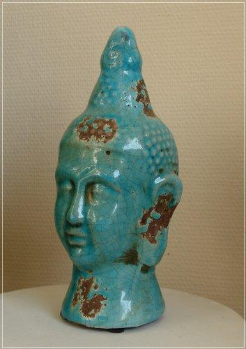 Buddha Kopf aus Terrakotta Türkis Krakelee im Used-Look
