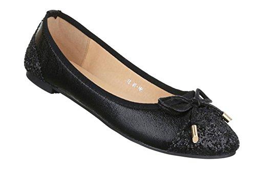 Damen Ballerinas Schuhe Loafers Slipper Slip-on Flats Schleifen Glitter Schwarz Silber 36 37 38 39 40 41 Schwarz