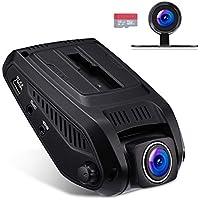 """VETOMILE Cámara de Coche Delantero y Trasero, 1080P FHD 2.4"""" LCD Car Dual Dash Cam con 170° Gran Ángulo, WIFI Incorporado, G-Sensor, Grabación en Bucle, Detección de Movimiento, Visión Nocturna Estupenda, 16GB Tarjeta SD, Color Negro"""