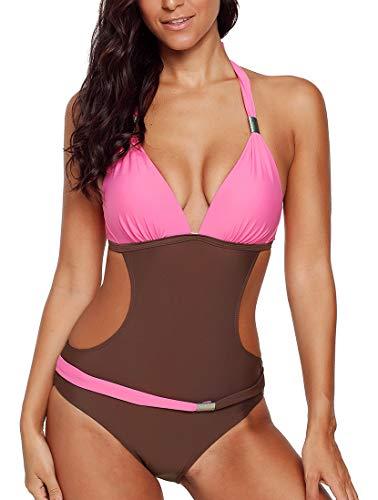 Damen Monokini Badeanzug Bikini Bademode Träger gepolstert Polster Colorblock Braun-Pink 36/38 (Etikett S)