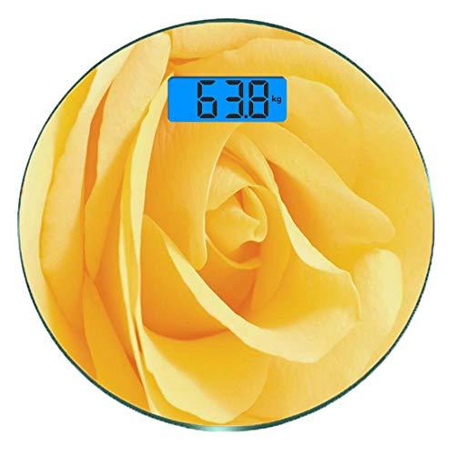 Digitale Präzisionswaage für das Körpergewicht Runde Gelbe Blume Ultra dünne ausgeglichenes Glas-Badezimmerwaage-genaue Gewichts-Maße,Weiche gelbe Rose Nahaufnahme Romantischer verträumter Frühling Za -