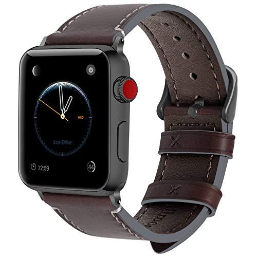 Fullmosa Kompatibel Leder Armband Apple Watch 42mm, Kaffeebraun + Dunkelgrau Schnalle, 42mm