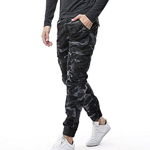 AYG Herren Camouflage Hose Cargo Hosen Combat Trousers(blue gray camo,36)
