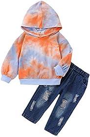 RETUROM Conjuntos de Ropa de Invierno, Niños Chico Cremallera Stretch pantalón Slim Jeans Rotos Pantalones Vaq