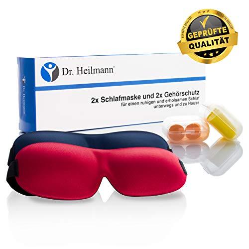 Dr. Heilmann® 2er Set Schlafmasken inklusive Gehörschutz Premium für Frauen und Herren bequem weich schlafen verstellbare 3D Augenmasken Augenbinde Nachtmaske Reisen erholsam Dunkelheit